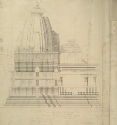 'Sketch for Plate.22. Miscell Series. Large Temple at Kadwaho.'   Elevation of side of Siva Temple, Khajuraho (Chhatarpur State, Central India).